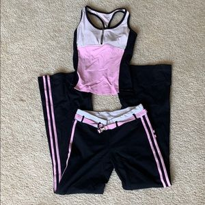 Bebe pink and black matching workout outfit sz S